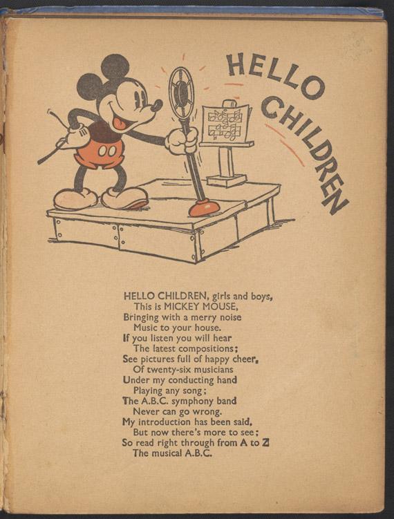 "Página de ""A Mickey Mouse ABC Story"" (1936)."