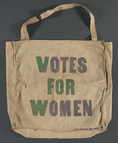 """Image: pro-suffrage bag with slogan, """"Votes for Women"""" from the Cornell Political Campaign Memorabilia Collection"""